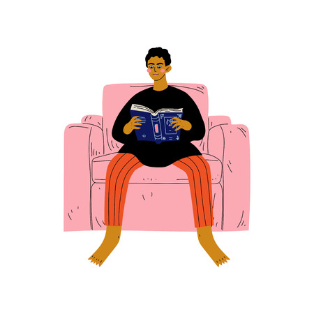 Young Man Sitting in Armchair and Reading Book, Guy Spending Weekend at Home and Relaxing, Rest at Home Vector Illustration on White Background.
