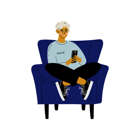 Young Man Sitting in Armchair with Smartphone, Guy Spending Weekend at Home and Relaxing, Rest at Home Vector Illustration on White Background.