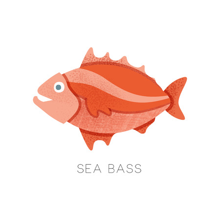 Bright red sea bass, side view. Small marine fish. Seafood theme. Flat vector icon of with texture