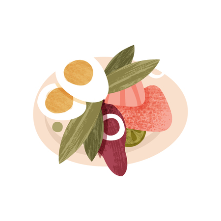 Appetizing salad from fresh vegetables, boiled egg and ham. Food theme. Colorful graphic element for recipe book, cafe or restaurant menu. Flat vector icon with texture isolated on white background.
