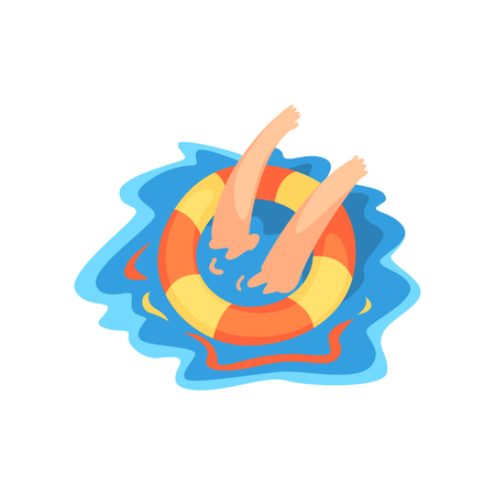 Hands of drowning man with lifebuoy vector Illustration isolated on a white background.
