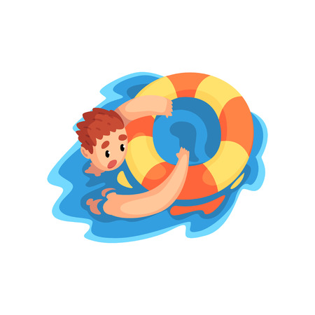 Drowning man with lifebuoy vector Illustration isolated on a white background. Vectores