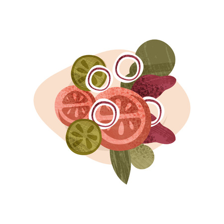 Illustration of delicious vegetarian salad. Healthy food. Tasty meal. Decorative graphic element for cafe or restaurant menu. Colorful flat vector icon with texture isolated on white background. Illustration