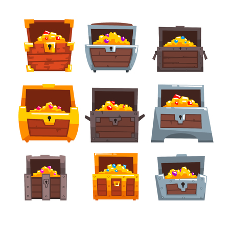 Collection of wooden chests with treasures, chest with golden coins and jewels vector Illustration isolated on a white background.