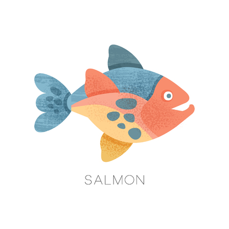 Colorful illustration of salmon fish. Freshwater fish. Marine animal. Sea creature. Decorative graphic element for cafe or restaurant menu. Flat vector icon with texture isolated on white background. Ilustrace