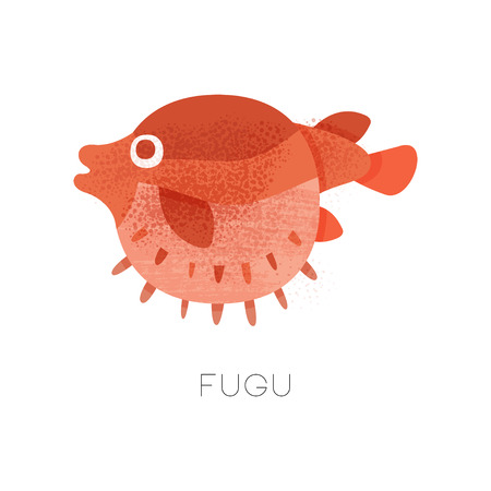 Illustration of swimming red fugu fish, side view. Marine creature. Japanese delicacy. Seafood theme. Graphic element for restaurant menu or poster. Flat vector icon with texture isolated on white.