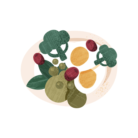 Salad with boiled eggs, broccoli, peas, olives and greens. Tasty food for lunch. Colorful graphic element for product packaging. Icon with texture. Flat vector design isolated on white background.