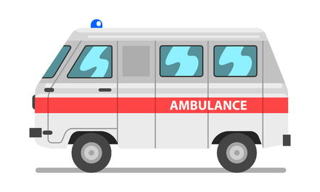 White and red ambulance car, emergency medical van vector Illustration on a white background