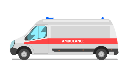 Ambulance car, emergency medical van vector Illustration isolated on a white background.
