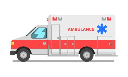 Automobile dell'ambulanza, illustrazione di vettore del veicolo di servizio medico di emergenza su un background . bianco Vettoriali