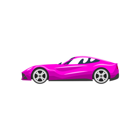 Auto da corsa sportiva fucsia, supercar, vettore di vista laterale illustrazione isolato su sfondo bianco. Vettoriali