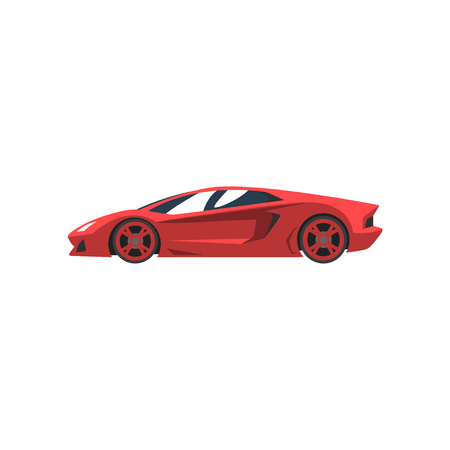Red sports racing car, supercar, side view vector Illustration isolated on a white background. Çizim