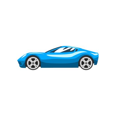 Coche de carreras de deportes azul, superdeportivo, vector de vista lateral ilustración aislada sobre fondo blanco.