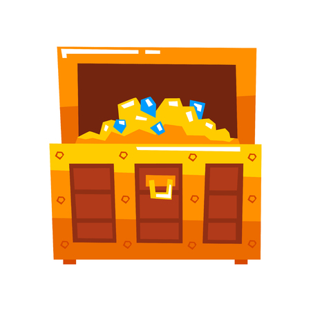 Opened wooden chest full of gold and diamonds vector Illustration isolated on a white background.