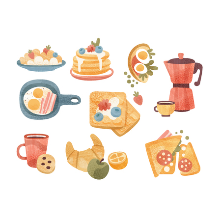 Classic breakfast dishes set, brunch or breakfast time vector Illustrations isolated on a white background.