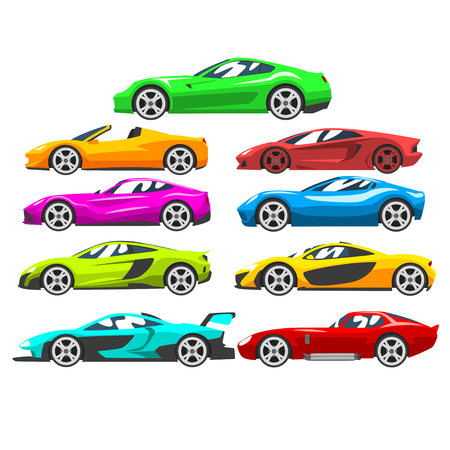Collection of sports racing cars, colorful supercar, side view vector Illustration isolated on a white background.