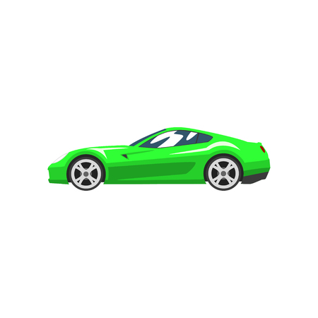 Green sports racing car, supercar, side view vector Illustration isolated on a white background.
