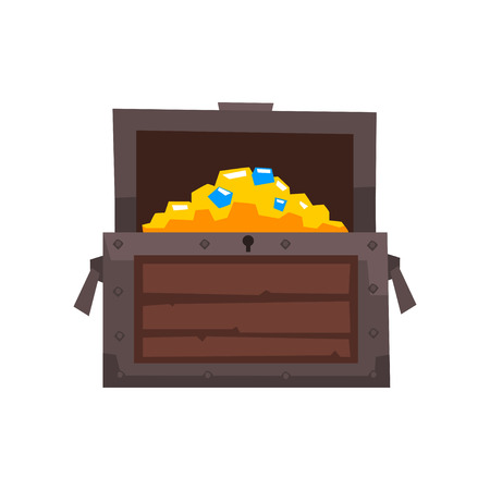 Opened wooden chest with treasures vector Illustration isolated on a white background.
