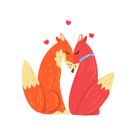 Couple of red foxes in love, two happy wild aniimals with hearts over their head vector Illustration isolated on a white background. Çizim