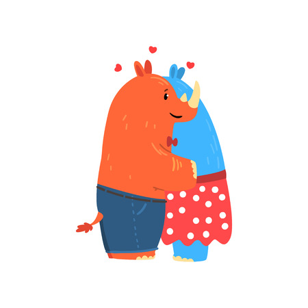 Couple of rhinoceroses in love embracing each other, two happy aniimals hugging vector Illustration isolated on a white background.