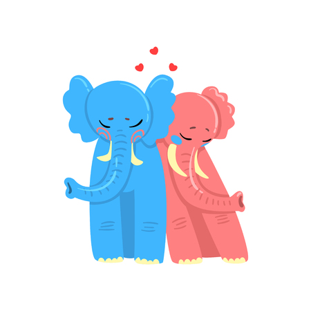 Couple of elephants in love embracing each other, two happy aniimals hugging with hearts over their head vector Illustration isolated on a white background.