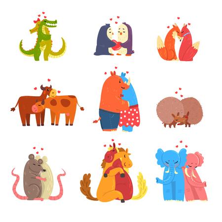 Kilka uroczych zwierzątek w miłości, obejmując się nawzajem, szczęśliwe zwierzęta dzikie i domowe przytulanie wektor ilustracja na białym tle. Ilustracje wektorowe