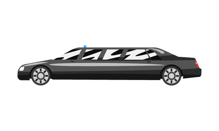 Black executive limousine with blue flasher siren, business luxury vehicle side view vector Illustration isolated on a white background. Ilustração