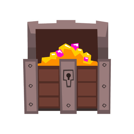 Opened treasure chest full of golden coins and jewels vector Illustration isolated on a white background. Illustration