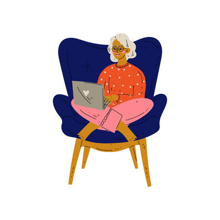Young Woman Sitting in Armchair Working with Laptop Computer, Girl Spending Weekend at Home and Relaxing Vector Illustration on White Background.