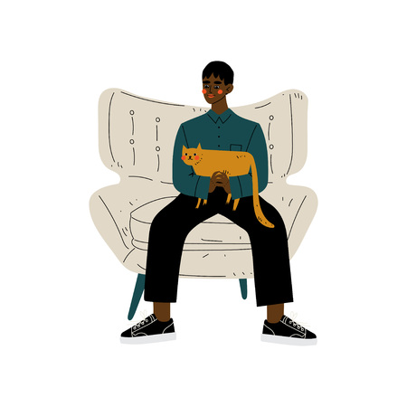 Young African American Man Sitting in Armchair with Cat in His Hands, Guy Spending Weekend at Home and Relaxing, Rest at Home Vector Illustration on White Background. Illustration