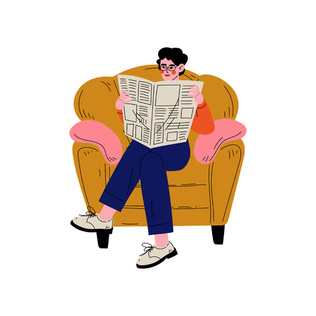 Young Man Sitting in Armchair and Reading Newspaper, Guy Spending Weekend at Home and Relaxing, Rest at Home Vector Illustration on White Background.