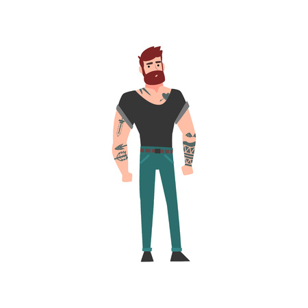 Muscular Hipster Bearded Man with Tattoo, Attractive Tattooed Guy Vector Illustration on White Background.