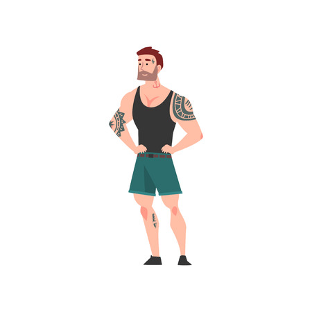 Bearded Muscular Man with Tattoo, Attractive Tattooed Guy Wearing Black Sleeveless Shirt and Shorts Vector Illustration on White Background.