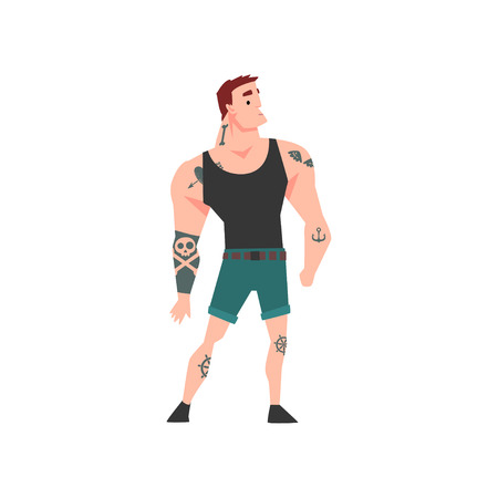 Brutal Muscular Man with Tattoo, Attractive Tattooed Guy Wearing Black Sleeveless Shirt Vector Illustration on White Background.
