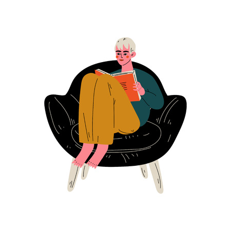 Young Man Sitting in Armchair and Reading Book, Guy Spending Weekend at Home and Relaxing Vector Illustration on White Background.
