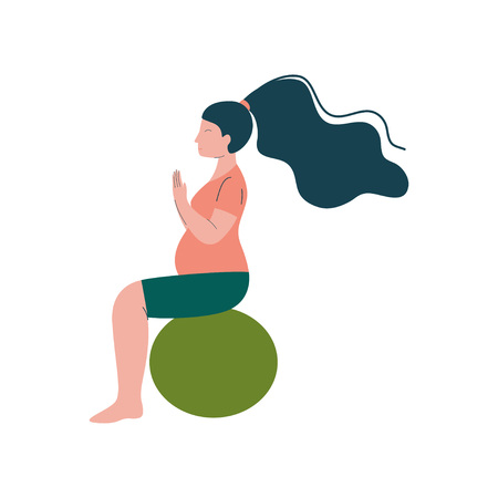 Attractive Brunette Pregnant Woman Doing Fitness Exercise with Fitball, Happy Pregnancy, Maternal Health Care Vector Illustration on White Background.