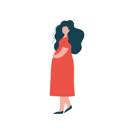 Attractive Brunette Pregnant Woman in Red Dress, Happy Pregnancy, Maternal Health Care Vector Illustration on White Background. 일러스트