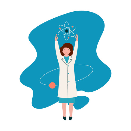 Female Scientist Physicist Character Wearing White Coat Working at Researching Lab with Atoms, Scientific Research Concept Vector Illustration on White Background.