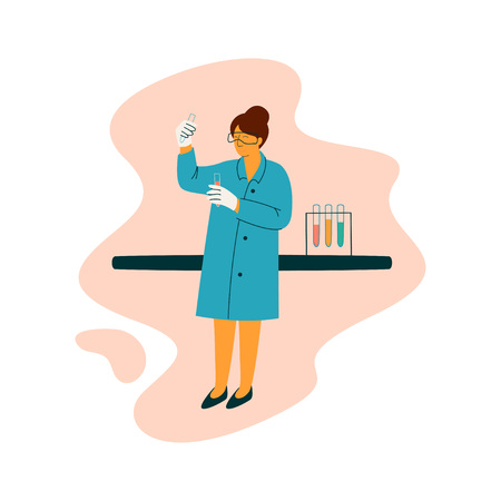 Female Scientist Technician Character Wearing Blue Coat Working at Researching Lab, Scientific Research Concept Vector Illustration on White Background. Banque d'images - 123642799