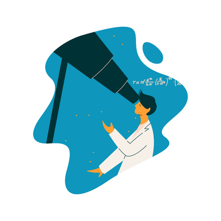 Male Scientist Astronomer Character Wearing White Coat Looking Through Telescope, Scientific Research Concept Vector Illustration on White Background.  イラスト・ベクター素材
