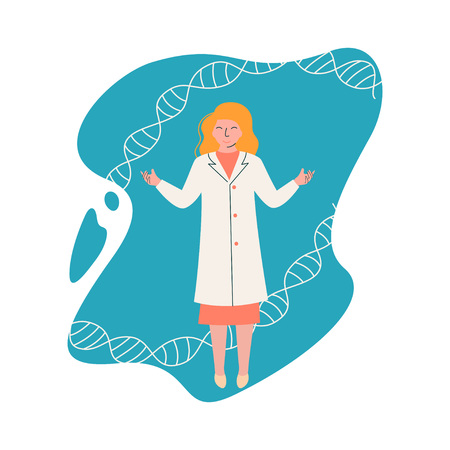 Female Scientist Genetic Engineer Character Wearing White Coat Working at Researching Lab with DNA Structure, Scientific Research Concept Vector Illustration on White Background.