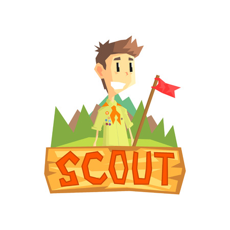 Scout Banner Template, Scouting Boy with Flag, Kids Summer Camp Vector Illustration