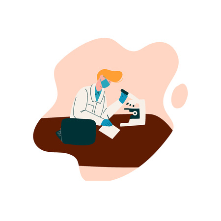 Male Scientist Character Wearing White Coat Working at Researching Lab with Microscope, Scientific Research Concept Vector Illustration on White Background. Banque d'images - 123642804