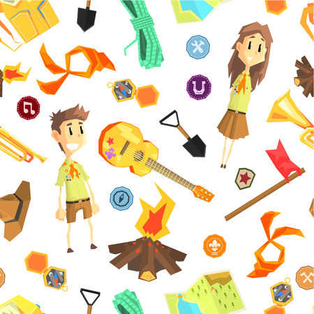 Scout Seamless Pattern with Camping Hiking Equipment and Children in Scout Uniform, Design Element Can Be Used for Fabric, Wallpaper, Packaging Vector Illustration on White Background. Illustration