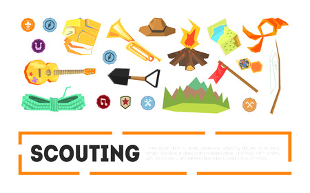 Scouting Banner Template with Camping and Hiking Equipment and place for Text, Outdoor Adventure Symbols Vector Illustration