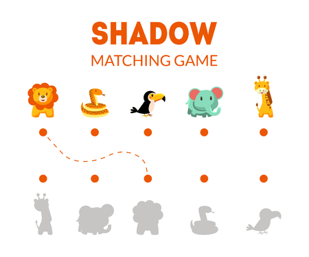 Shadow Matching Game with Cute African Animals, Educational Game for Kids Vector Illustration Illustration
