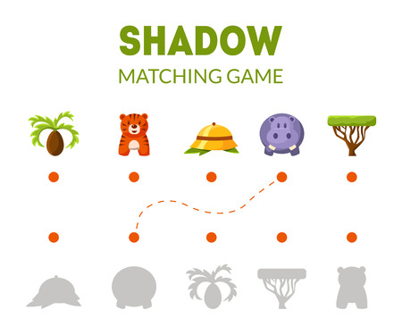 Shadow Matching Game with African Safari Signs and Animals, Educational Game for Kids Vector Illustration, Web Design