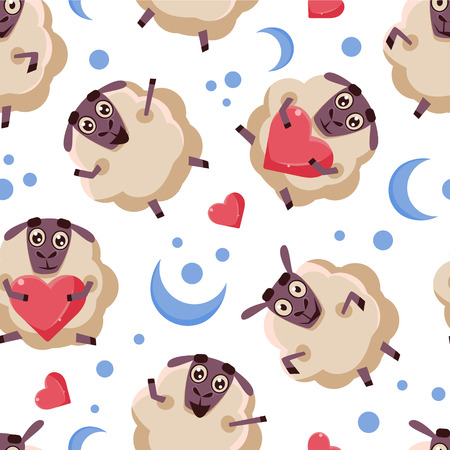 Good Night Seamless Pattern with Cute Cartoon Sheep, Design Element Can Be Used for Fabric, Wallpaper, Packaging Vector Illustration