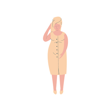 Attractive Pregnant Woman After Shower with Towel on Her Head, Happy Pregnancy, Maternal Health Care Vector Illustration on White Background. Vectores