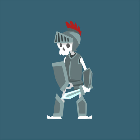 Knight Skeleton in Armor and Helmet, Dead Man Zombie Cartoon Character Vector Illustration on Dark Background. 일러스트